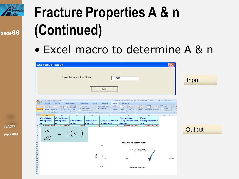 Slide 68 Fracture Properties A & n (Continued) Excel macro to determine A & n Input Output