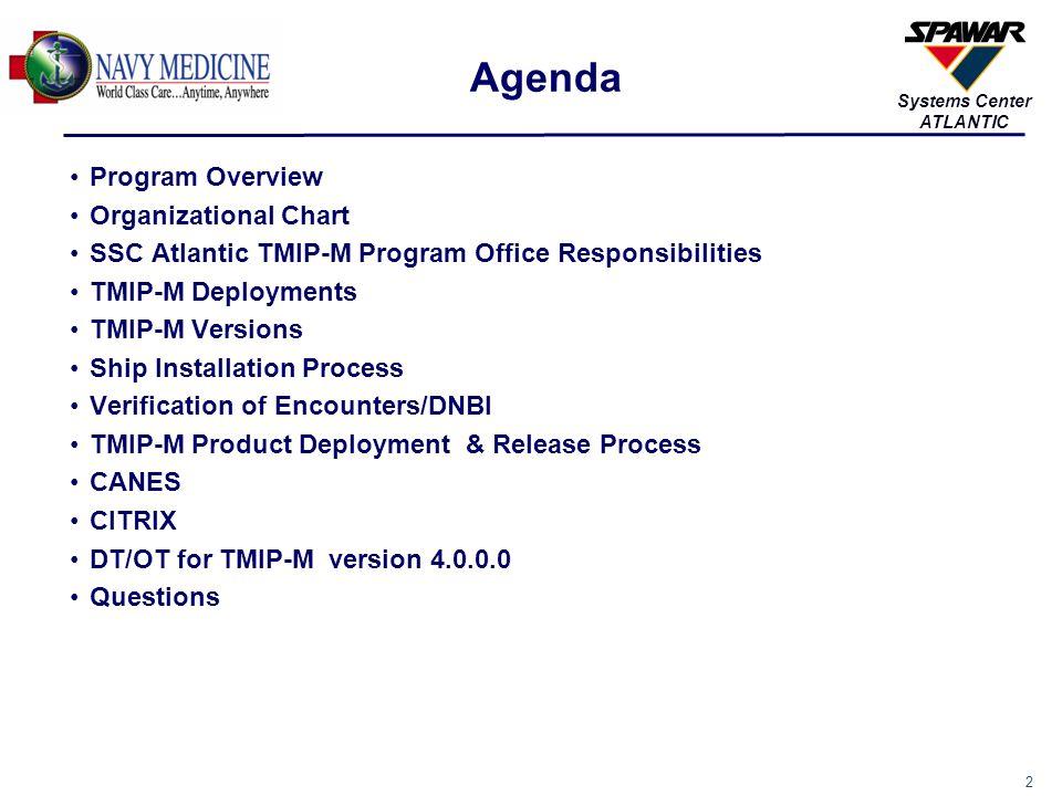 2 Systems Center ATLANTIC Agenda Program Overview Organizational Chart SSC Atlantic TMIP-M Program Office Responsibilities TMIP-M Deployments TMIP-M V