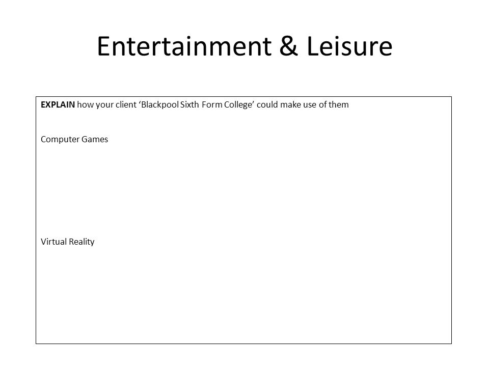 Entertainment & Leisure EXPLAIN how your client 'Blackpool Sixth Form College' could make use of them Computer Games Virtual Reality