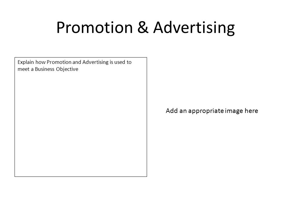 Promotion & Advertising Explain how Promotion and Advertising is used to meet a Business Objective Add an appropriate image here