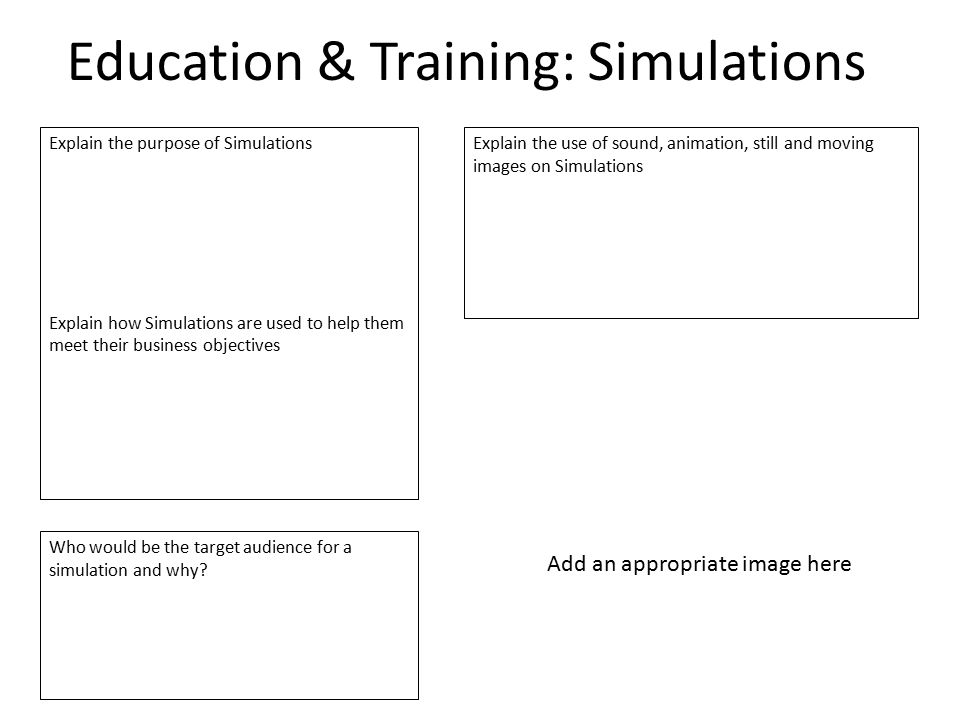 Education & Training: Simulations Explain the purpose of Simulations Explain how Simulations are used to help them meet their business objectives Expl