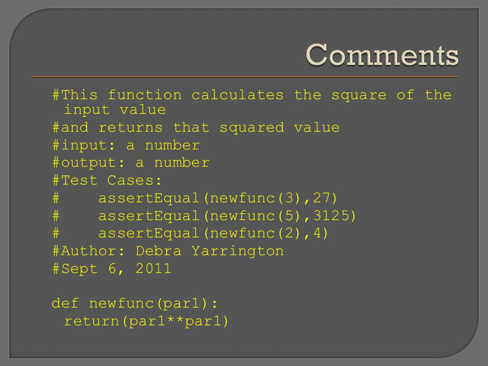 #This function calculates the square of the input value #and returns that squared value #input: a number #output: a number #Test Cases: # assertEqual(