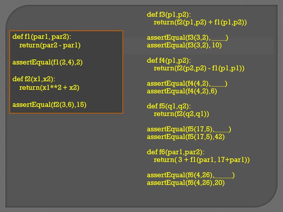 Given the function def Squr(par1): return(par1 ** 2) def dbl(par2): return(par2 + par2) What does this get us.