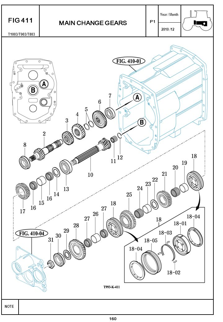 2010 /12 NOTE Year / Month P1 FIG 411 160 MAIN CHANGE GEARS T1003/T903/T803