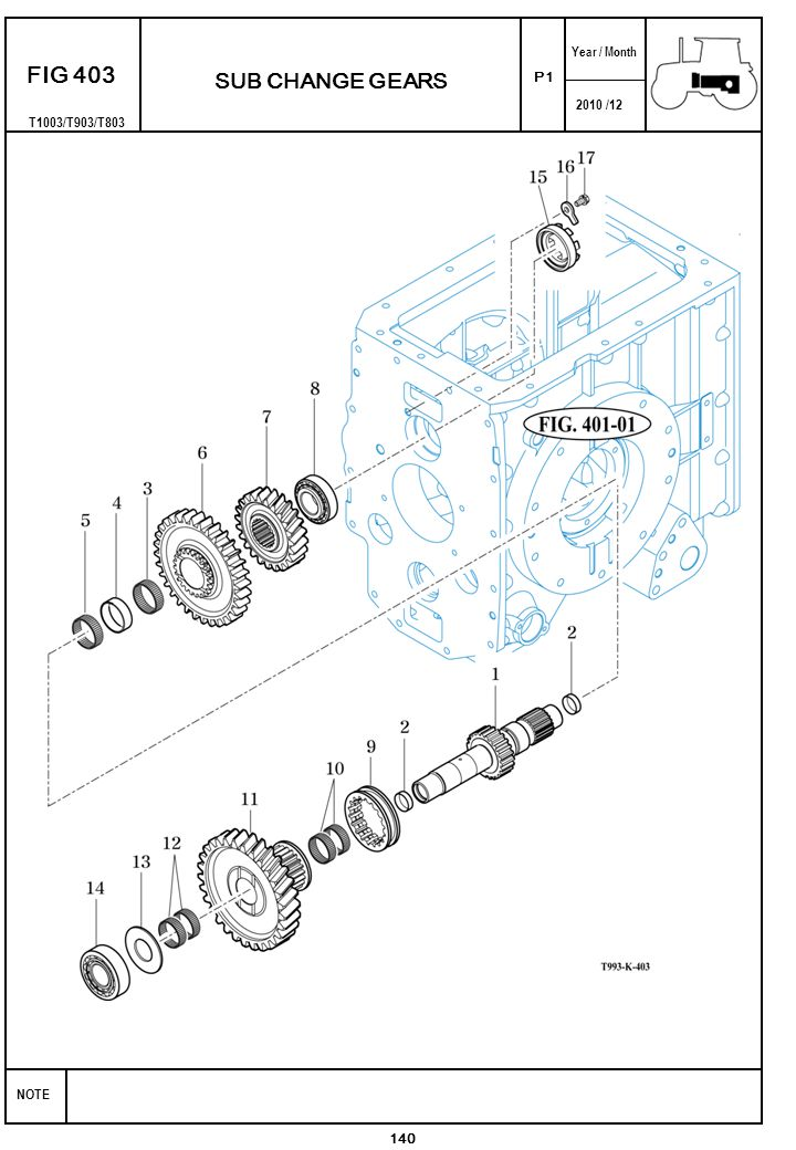 2010 /12 NOTE Year / Month SUB CHANGE GEARS P1 FIG 403 140 T1003/T903/T803