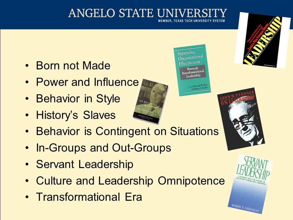 Transformational Leadership – Individualized consideration –Supportive Climate, Careful Listening –Enhanced Actualization –Coaching, Facilitating, and Teaching Transformational Leadership – Intellectual Stimulation –Creativity, Innovation, and Challenging of Beliefs –Critical Thinking and Problem Solving –Promotions based on Innovation