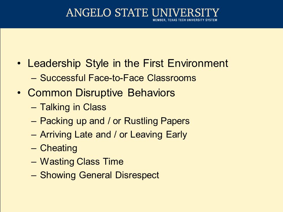 Leadership Style in the First Environment –Successful Face-to-Face Classrooms Common Mitigation Strategies –Change Activity (Lecture to Groups) –Effective use of Visual Aids –Minimize Distracting Behaviors ( um, uh, you know ) –Effective use of Body (Move Around) –Emotions to Project –Effective use of Voice