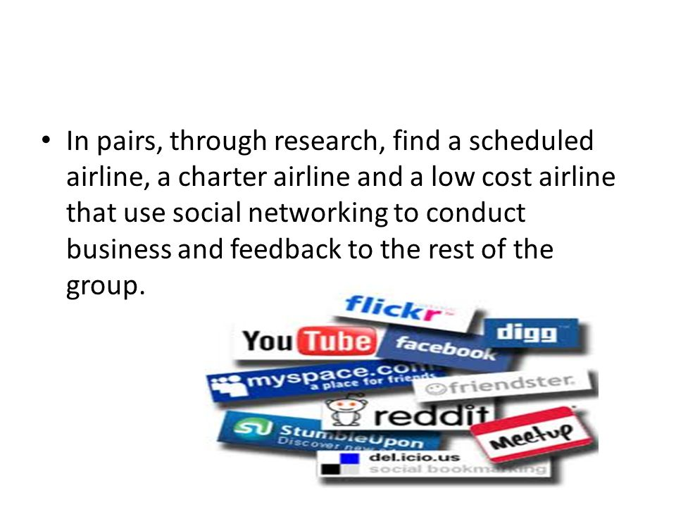 In pairs, through research, find a scheduled airline, a charter airline and a low cost airline that use social networking to conduct business and feed