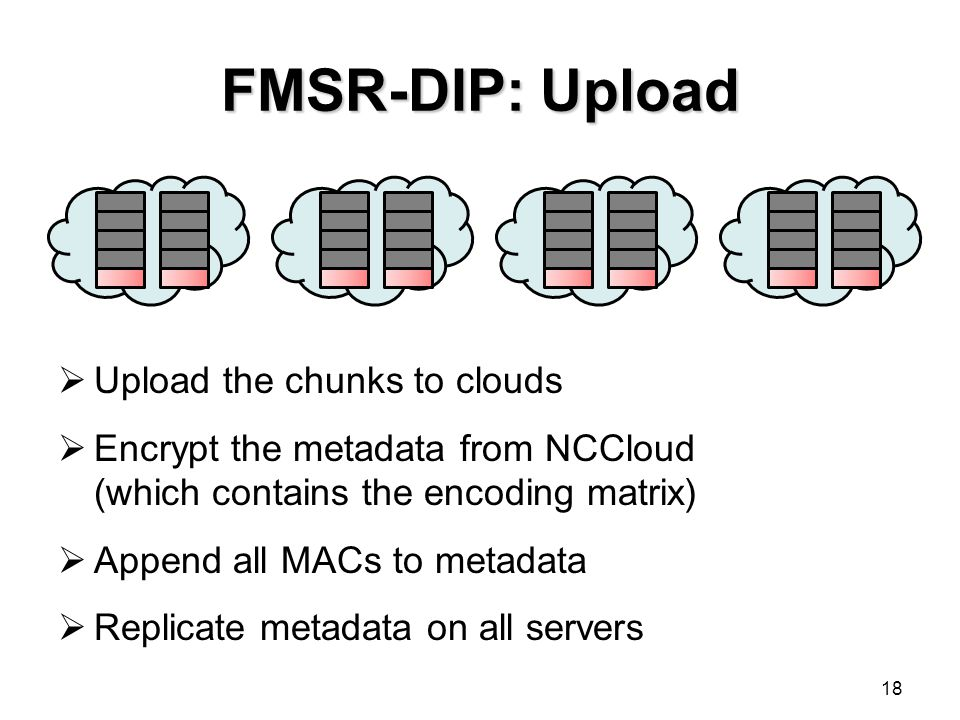 FMSR-DIP: Upload 18  Upload the chunks to clouds  Encrypt the metadata from NCCloud (which contains the encoding matrix)  Append all MACs to metada