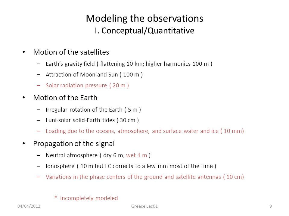 Modeling the observations I.