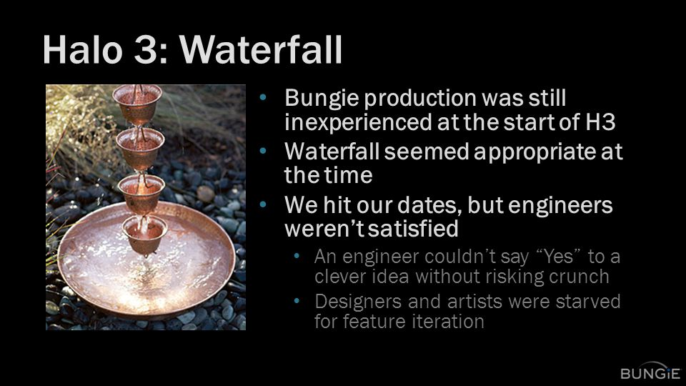 Halo 3: Waterfall Bungie production was still inexperienced at the start of H3 Waterfall seemed appropriate at the time We hit our dates, but engineers weren't satisfied An engineer couldn't say Yes to a clever idea without risking crunch Designers and artists were starved for feature iteration