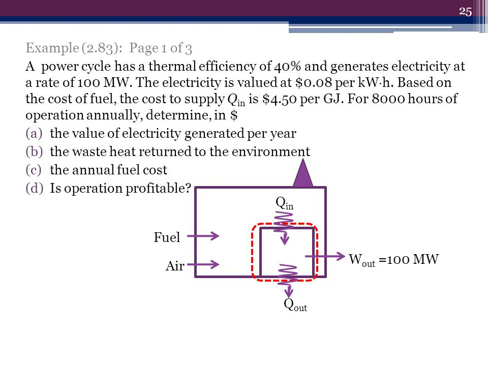 Example (2.83): Page 1 of 3 A power cycle has a thermal efficiency of 40% and generates electricity at a rate of 100 MW.