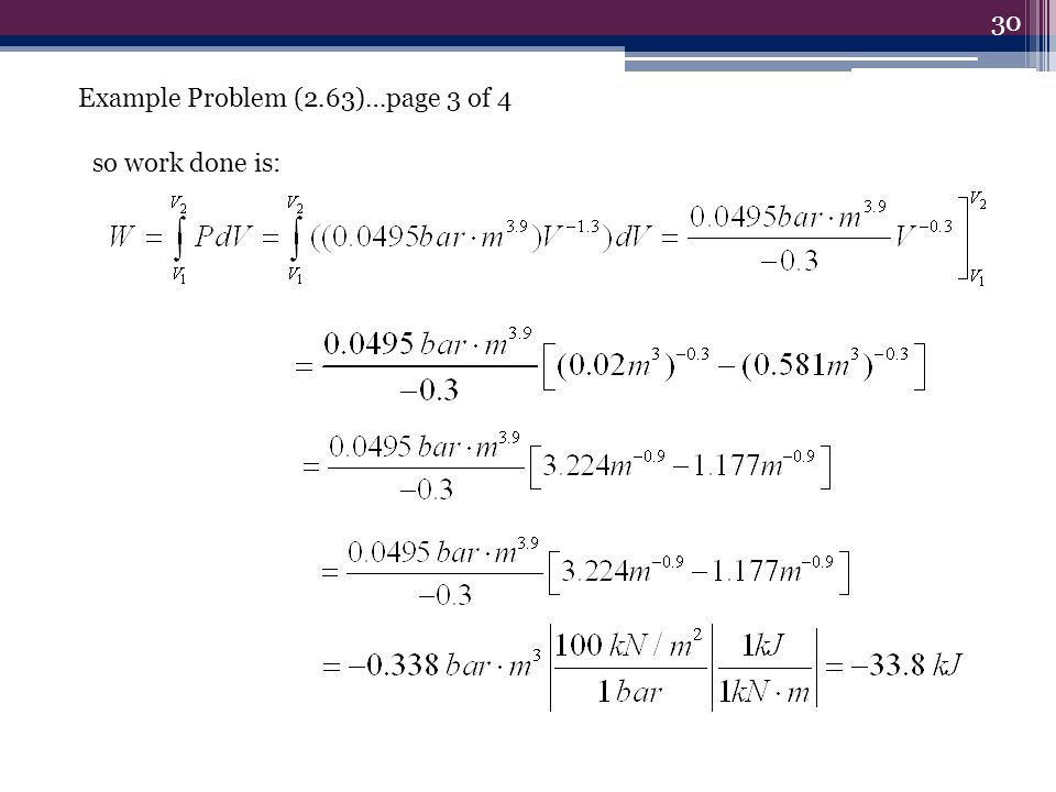 30 so work done is: Example Problem (2.63)…page 3 of 4