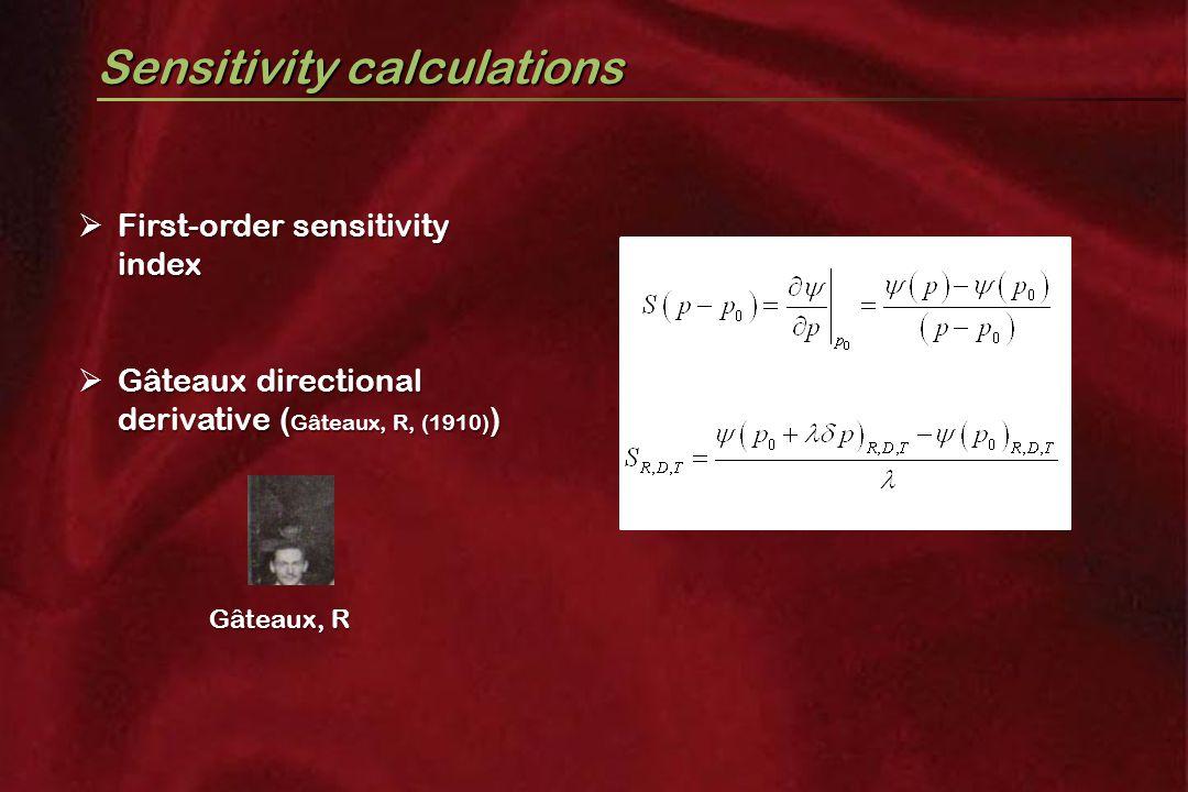 Sensitivity calculations  First-order sensitivity index  Gâteaux directional derivative ( Gâteaux, R, (1910) ) Gâteaux, R