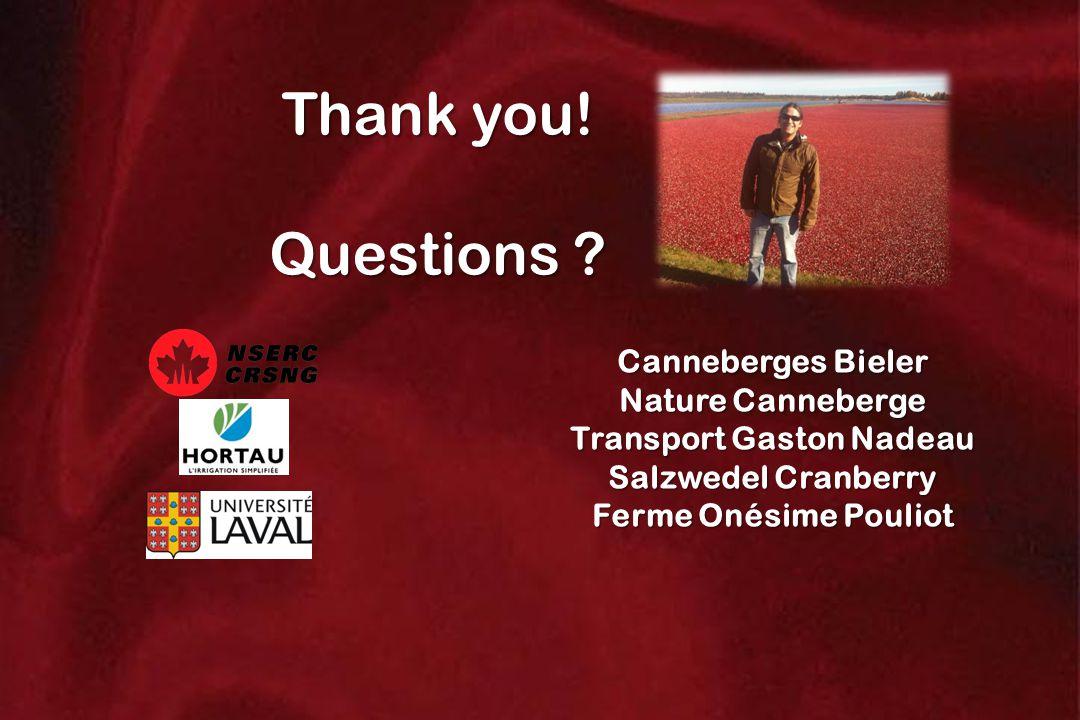 Canneberges Bieler Nature Canneberge Transport Gaston Nadeau Salzwedel Cranberry Ferme Onésime Pouliot Thank you! Questions ?