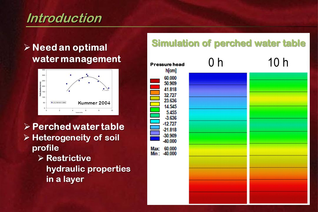 Introduction  Need an optimal water management  Perched water table  Heterogeneity of soil profile  Restrictive hydraulic properties in a layer Kummer 2004 Pressure head