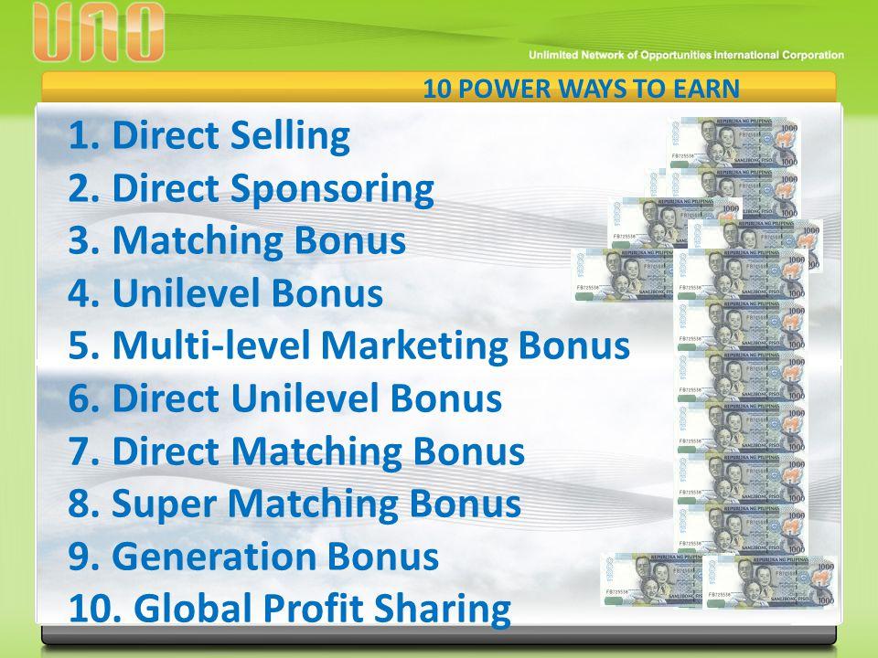 1.Direct Selling 2.Direct Sponsoring 3. Matching Bonus 4. Unilevel Bonus 5. Multi-level Marketing Bonus 6. Direct Unilevel Bonus 7. Direct Matching Bo