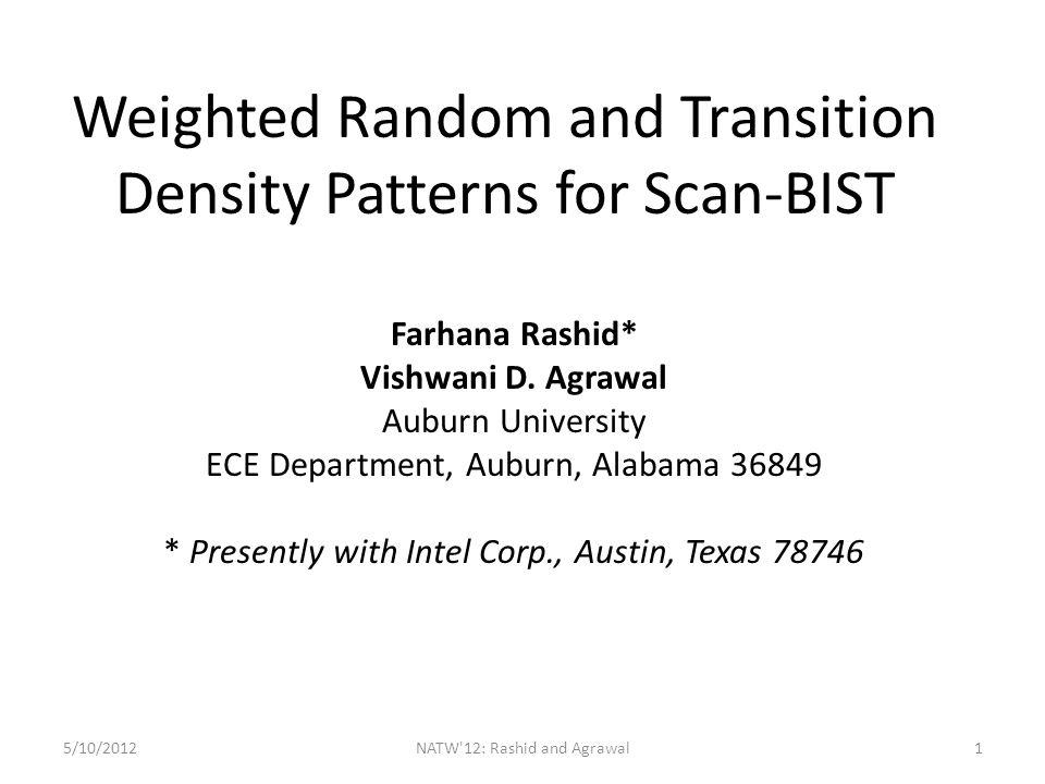 A BIST Architecture 5/10/2012NATW 12: Rashid and Agrawal2 Combinational Logic TPGSAR PI PO p1 = Prob{bit = 1}, or TD = Prob{bit makes transition}
