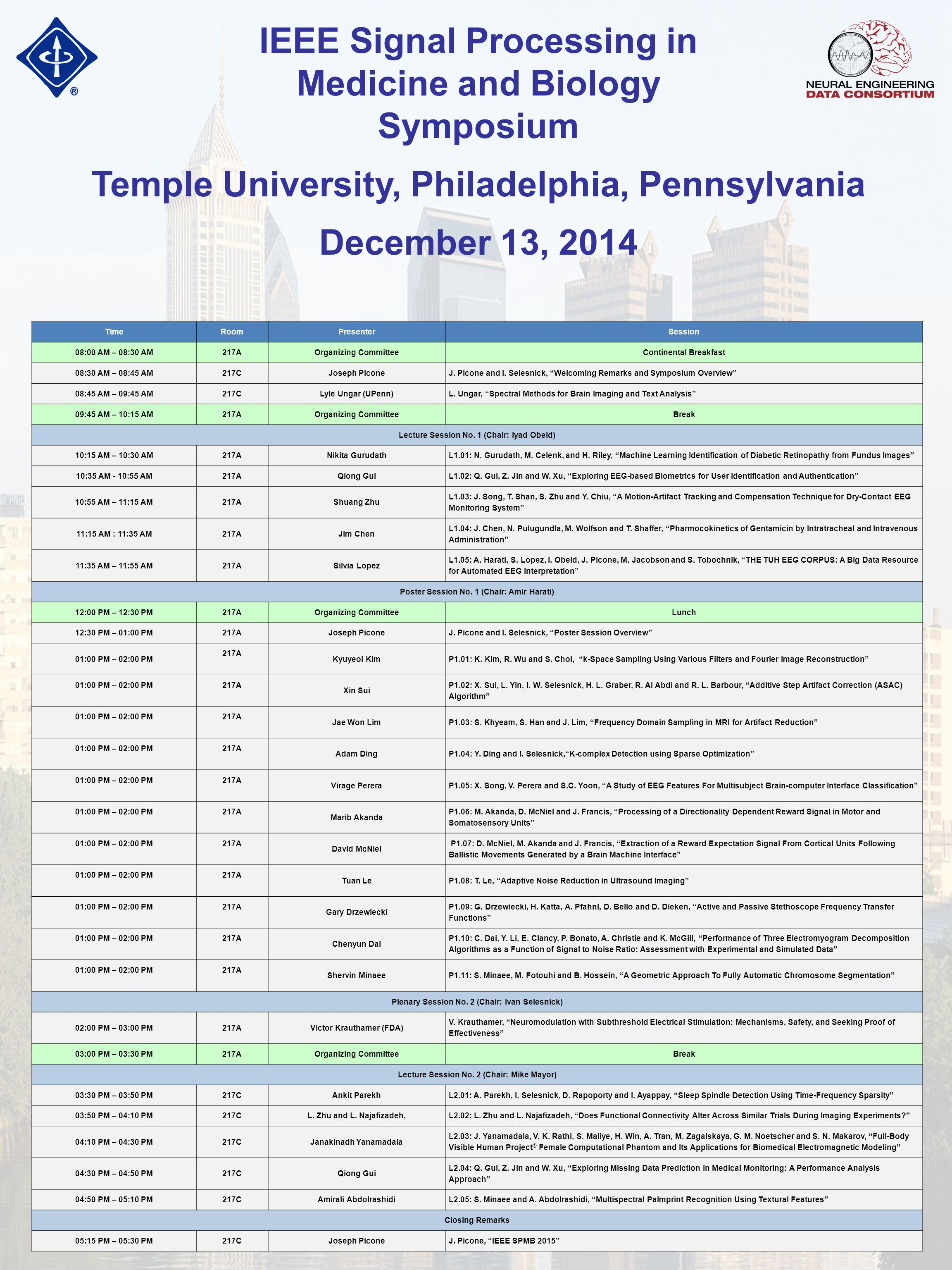 IEEE Signal Processing in Medicine and Biology Symposium Temple University, Philadelphia, Pennsylvania December 13, 2014 TimeRoomPresenterSession 08:00 AM – 08:30 AM217AOrganizing CommitteeContinental Breakfast 08:30 AM – 08:45 AM217CJoseph PiconeJ.