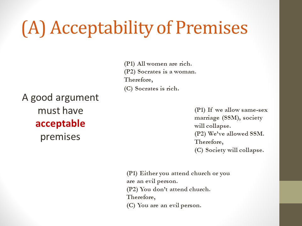 (A) Acceptability of Premises Acceptability VS.
