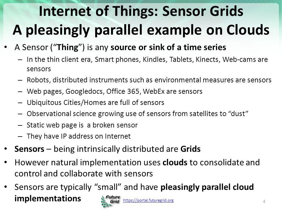 https://portal.futuregrid.org Sensors as a Service Sensor Processing as a Service (could use MapReduce) A larger sensor ……… Output Sensor