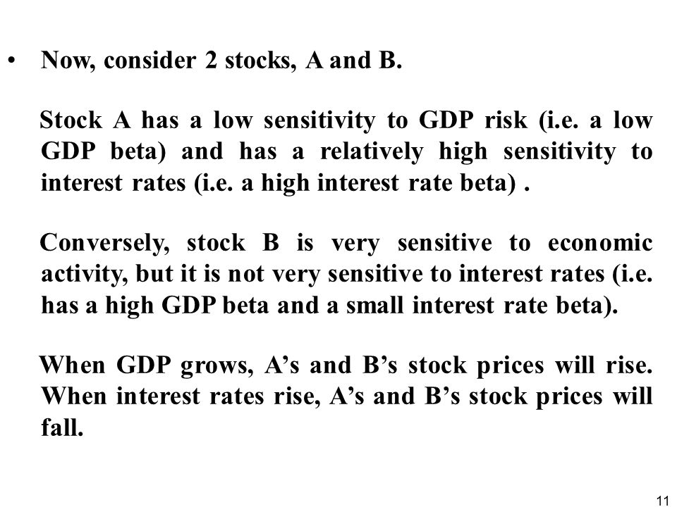 11 Now, consider 2 stocks, A and B.Stock A has a low sensitivity to GDP risk (i.e.