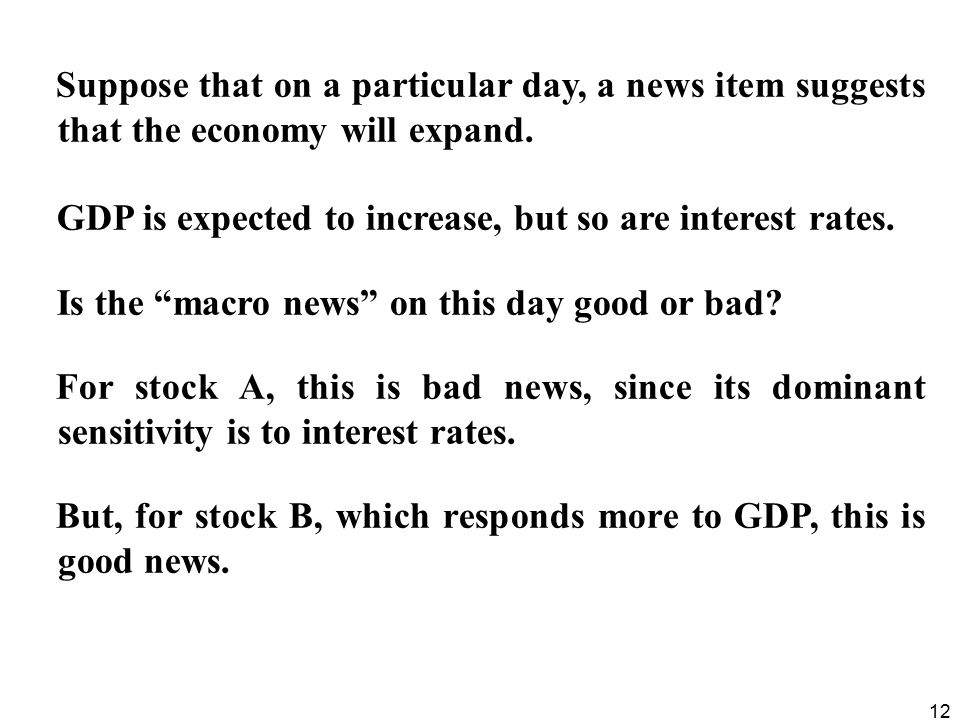 12 Suppose that on a particular day, a news item suggests that the economy will expand.