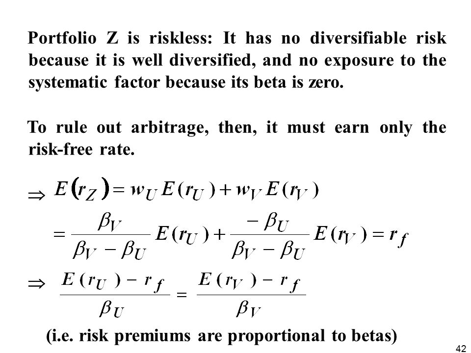 42 Portfolio Z is riskless: It has no diversifiable risk because it is well diversified, and no exposure to the systematic factor because its beta is zero.
