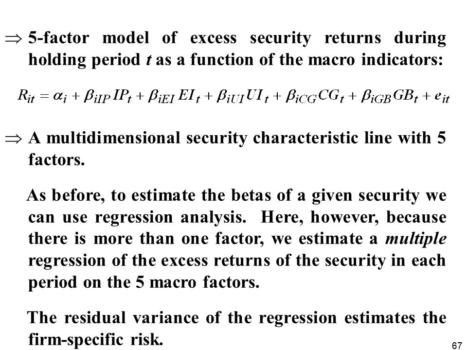 67  5-factor model of excess security returns during holding period t as a function of the macro indicators:  A multidimensional security characteristic line with 5 factors.