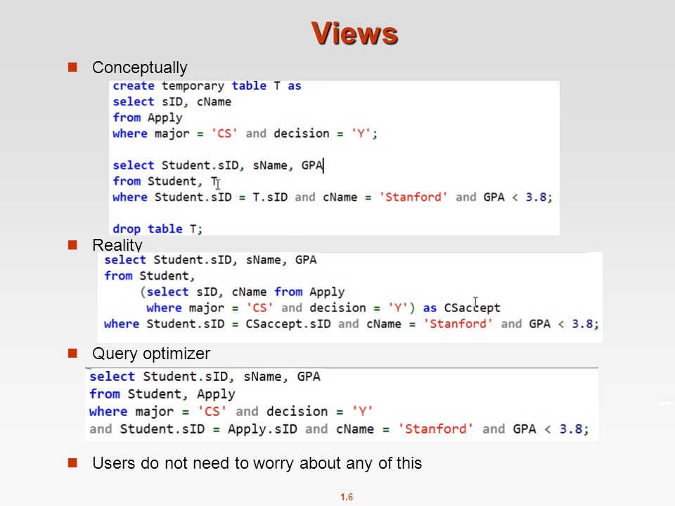 1.6 Views Conceptually Reality Query optimizer Users do not need to worry about any of this
