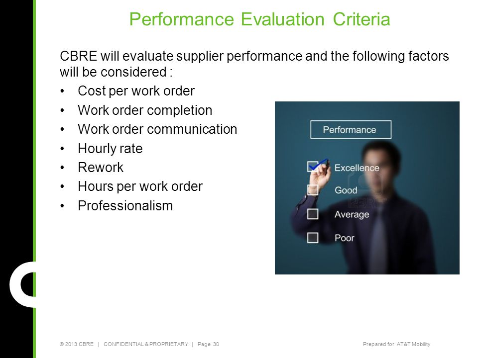 © 2013 CBRE   CONFIDENTIAL & PROPRIETARY   Page 30Prepared for AT&T Mobility Performance Evaluation Criteria CBRE will evaluate supplier performance a