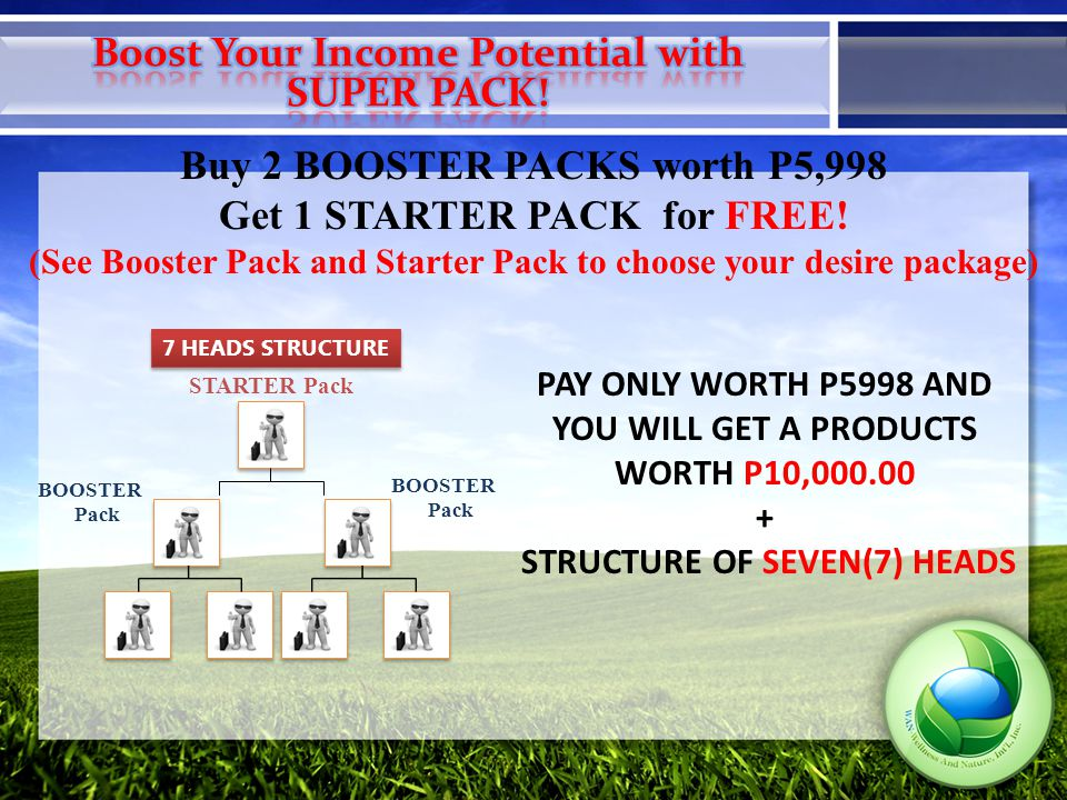 Buy 2 BOOSTER PACKS worth P5,998 Get 1 STARTER PACK for FREE.