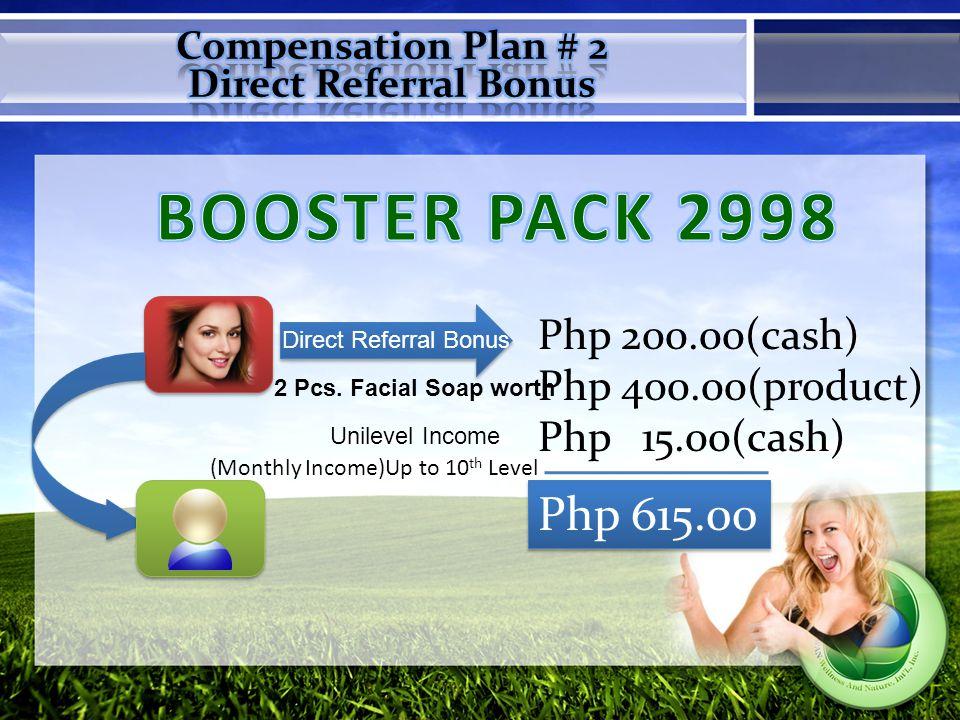 You earn Php 1,765 X 2=P3,530 for direct bonus You earn Php 1,765 X 2=P3,530 for direct bonus Rule: 1:1 binary for the pairing sales bonus You earn 150X2 = 300 gift cert.