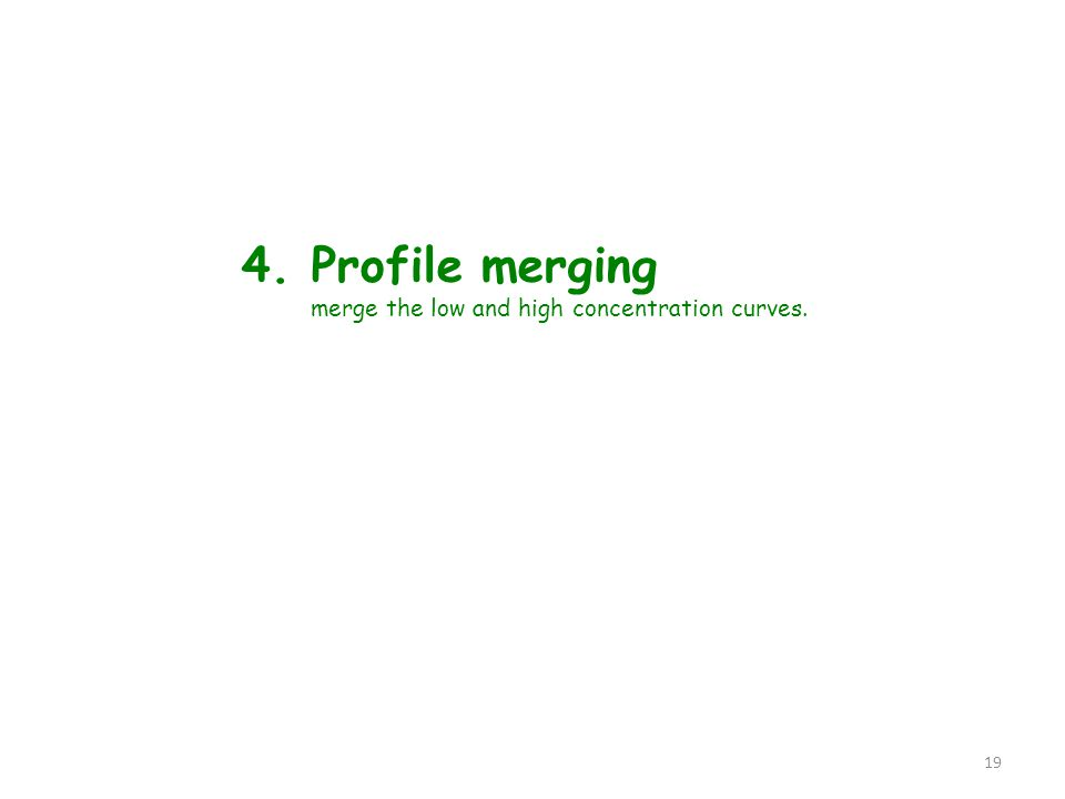 4. Profile merging merge the low and high concentration curves. 19