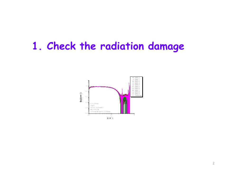 1. Check the radiation damage 2