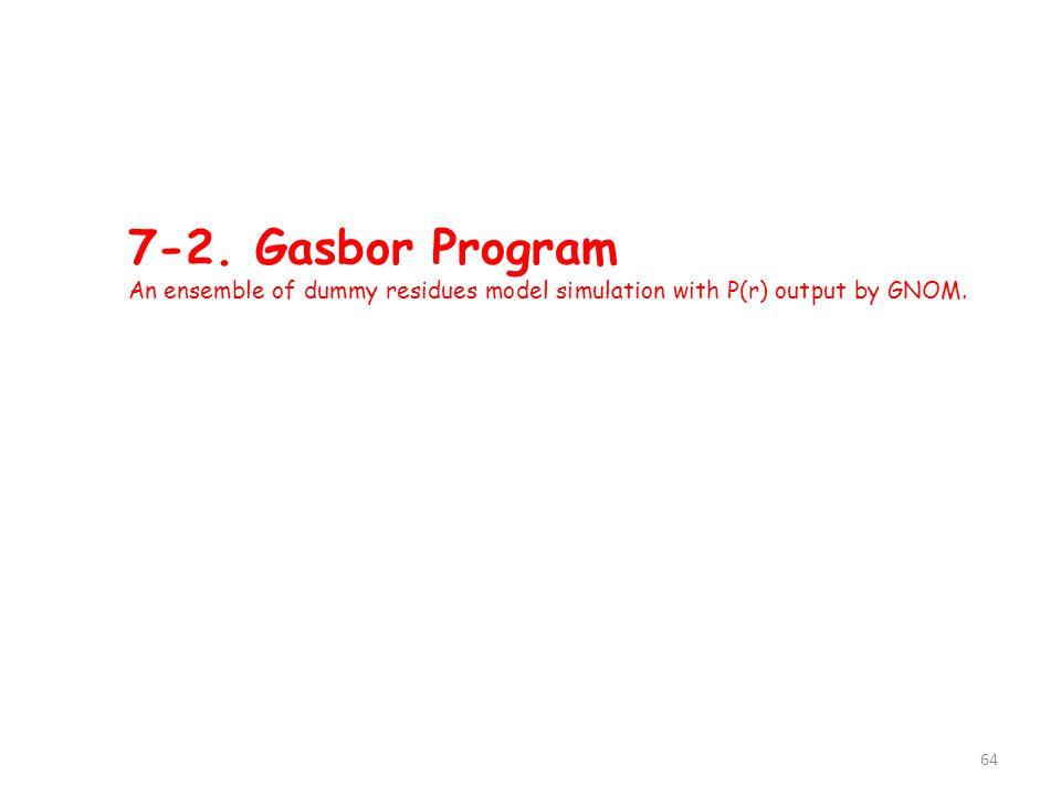 7-2. Gasbor Program An ensemble of dummy residues model simulation with P(r) output by GNOM. 64
