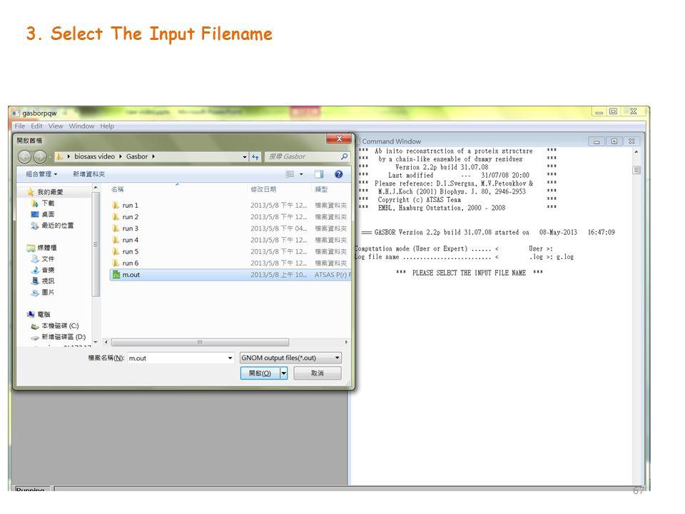 3. Select The Input Filename 67
