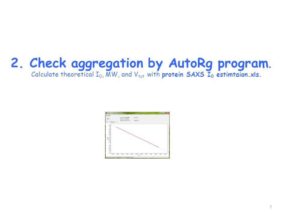2. Check aggregation by AutoRg program. Calculate theoretical I 0, MW, and V tot with protein SAXS I 0 estimtaion.xls. 7