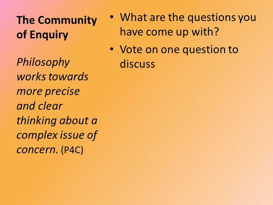 The Community of Enquiry What are the questions you have come up with.