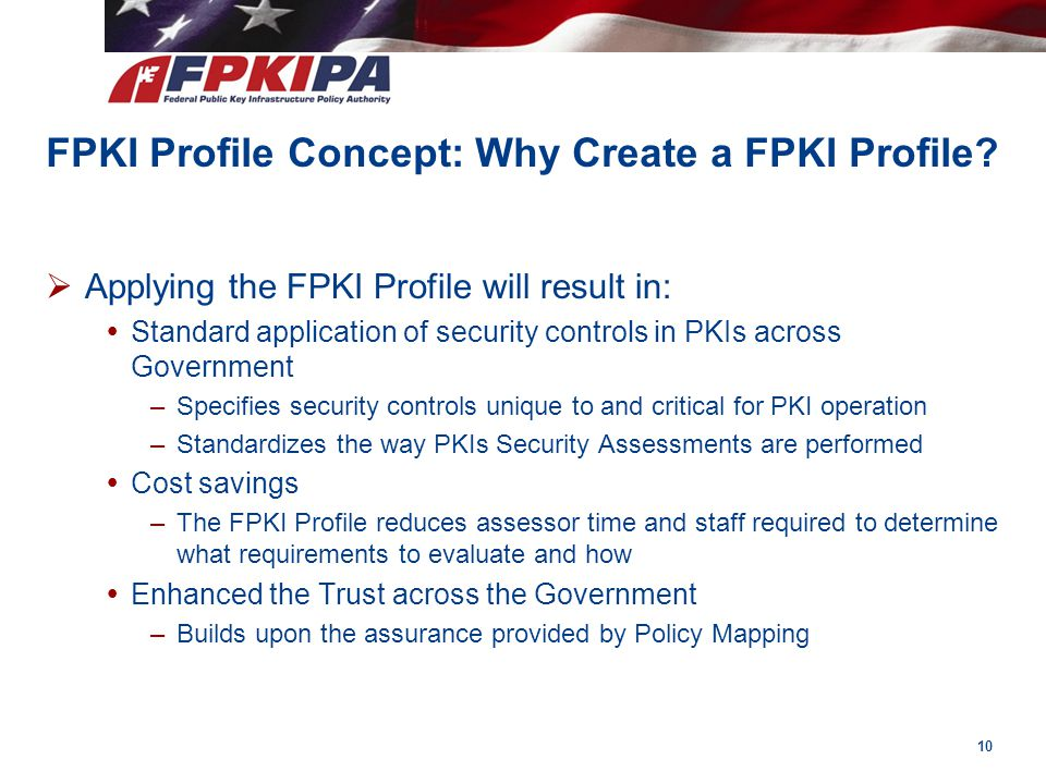 FPKI Profile Concept: Why Create a FPKI Profile?  Applying the FPKI Profile will result in:  Standard application of security controls in PKIs acros