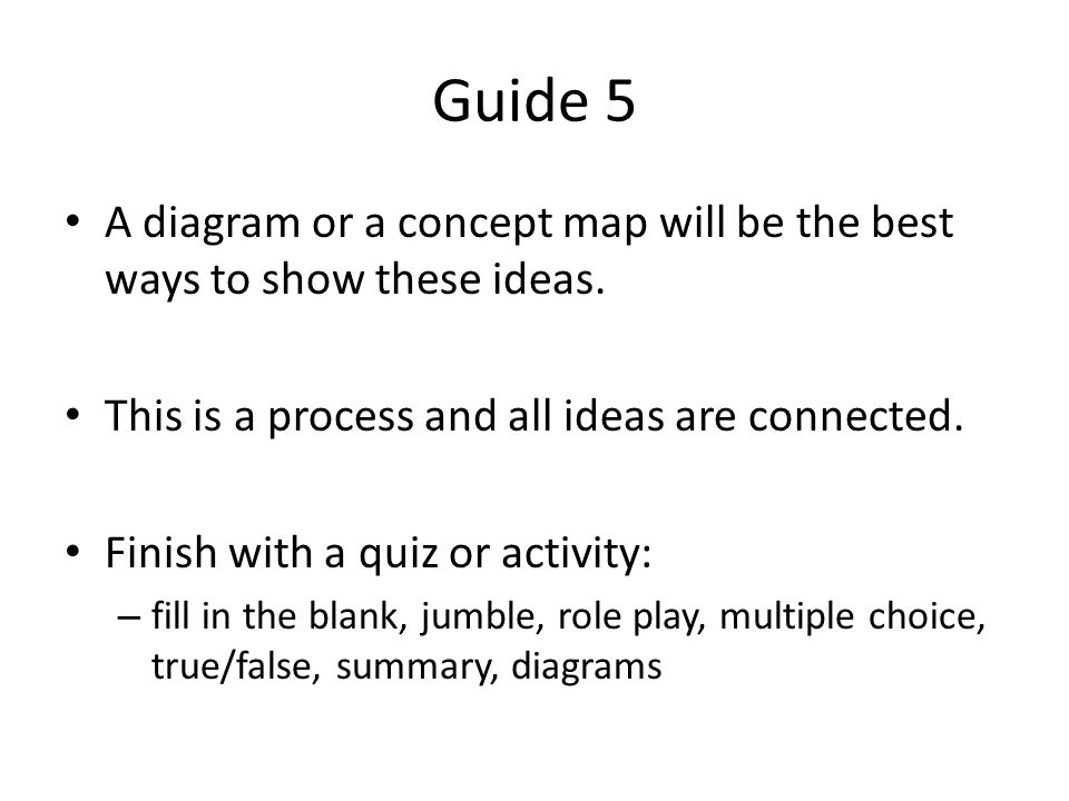Guide 5 A diagram or a concept map will be the best ways to show these ideas.