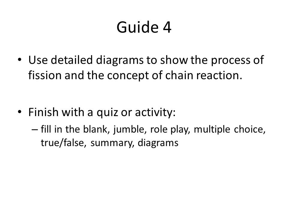 Guide 4 Use detailed diagrams to show the process of fission and the concept of chain reaction.
