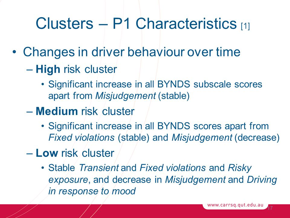 Changes in driver behaviour over time –High risk cluster Significant increase in all BYNDS subscale scores apart from Misjudgement (stable) –Medium risk cluster Significant increase in all BYNDS scores apart from Fixed violations (stable) and Misjudgement (decrease) –Low risk cluster Stable Transient and Fixed violations and Risky exposure, and decrease in Misjudgement and Driving in response to mood 17 Clusters – P1 Characteristics [1]