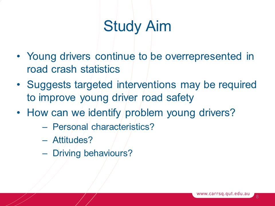 Study Aim Young drivers continue to be overrepresented in road crash statistics Suggests targeted interventions may be required to improve young driver road safety How can we identify problem young drivers.