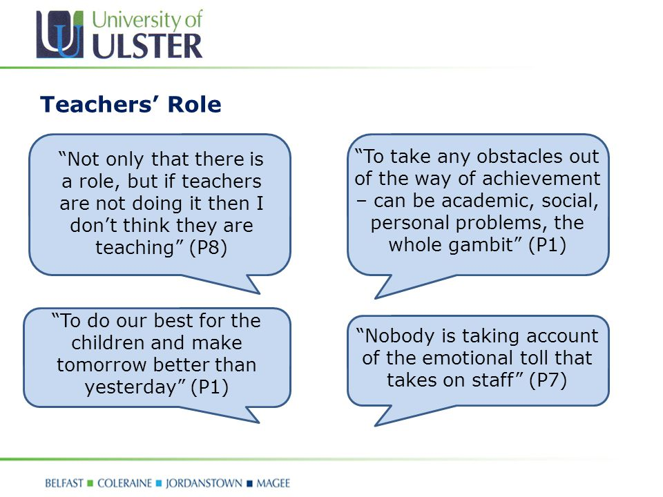 Teachers' Role Not only that there is a role, but if teachers are not doing it then I don't think they are teaching (P8) To take any obstacles out of the way of achievement – can be academic, social, personal problems, the whole gambit (P1) To do our best for the children and make tomorrow better than yesterday (P1) Nobody is taking account of the emotional toll that takes on staff (P7)