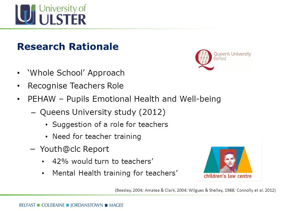 Research Questions: 1)What role do teachers' have in psychologically and emotionally supporting pupils (11-18 years).