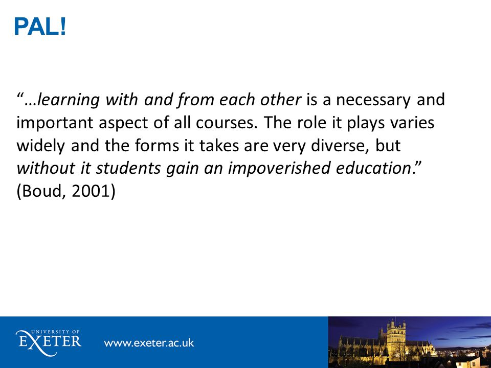 …learning with and from each other is a necessary and important aspect of all courses.