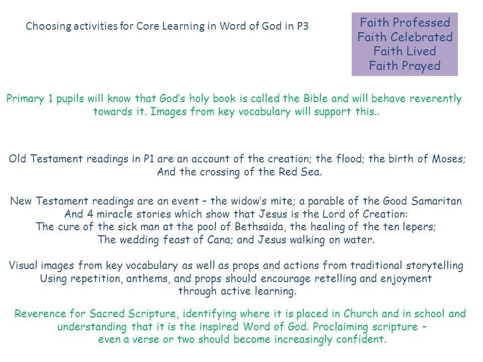 Faith Professed Faith Celebrated Faith Lived Faith Prayed Choosing activities for Core Learning in Word of God in P3 Primary 1 pupils will know that God's holy book is called the Bible and will behave reverently towards it.