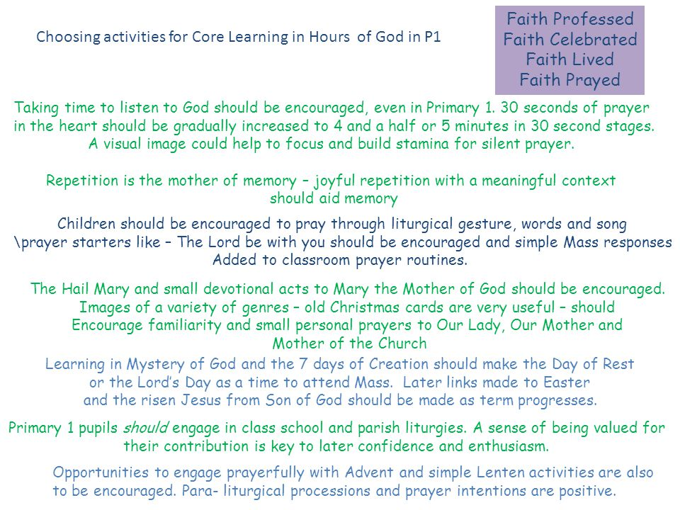 Faith Professed Faith Celebrated Faith Lived Faith Prayed Choosing activities for Core Learning in Hours of God in P1 Taking time to listen to God should be encouraged, even in Primary 1.