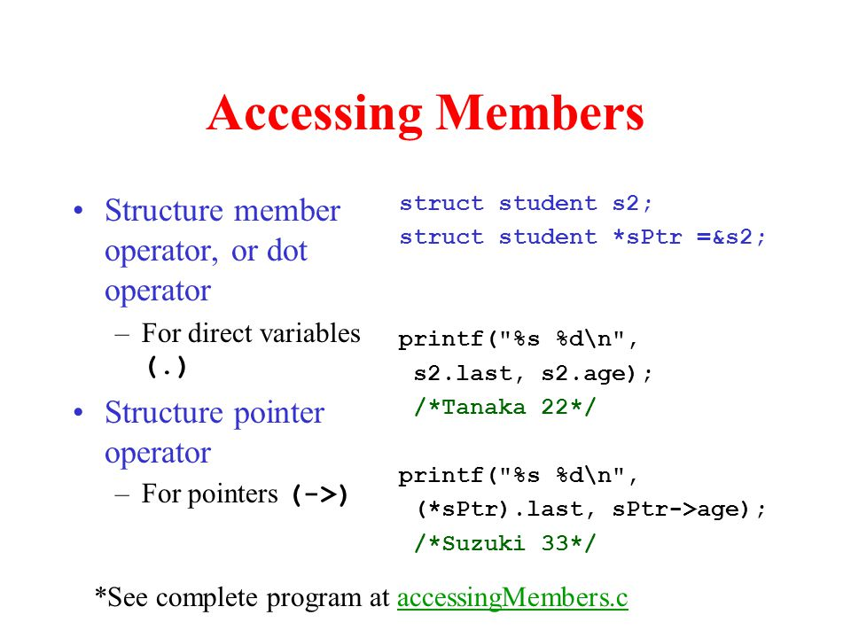 Accessing Members Structure member operator, or dot operator –For direct variables (.) Structure pointer operator –For pointers (->) struct student s2